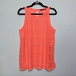 Apt 9 Neon Orange Lace Front Tank Top, Size L